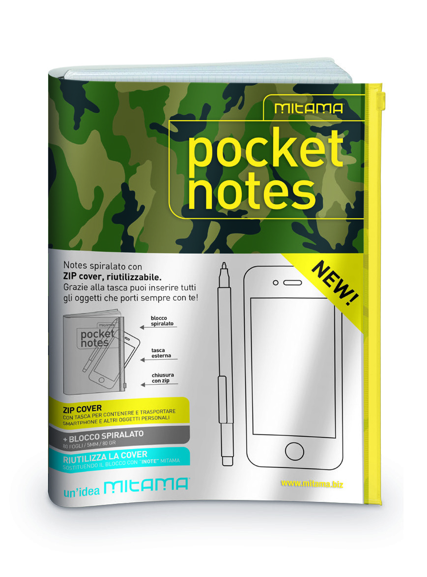 Image For Quaderno con spirale Pocket Notes inote Mitama 17,5x24 cm con zip ..