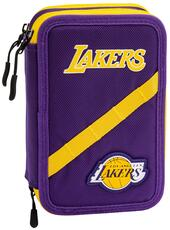 Astuccio accessoriato 3 zip NBA L.A. Lakers. Viola