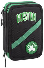 Astuccio accessoriato 3 zip NBA Boston Celtics. Verde