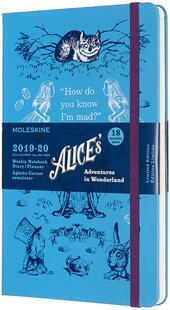 Weekly Notebook Agenda-Taccuino settimanale 2019-2020, 18 mesi, Alice in Wonderland Limited Edition Moleskine large azzurro. Blue