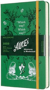 Agenda giornaliera 2020, 12 mesi, Alice in Wonderland Limited Edition Moleskine large verde. Green