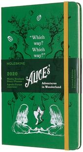 Weekly Notebook Agenda-Taccuino settimanale 2020, 12 mesi, Alice in Wonderland Limited Edition Moleskine large verde. Green