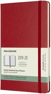Weekly Notebook Agenda-Taccuino settimanale 2019-2020, 18 mesi, Moleskine large copertina rigida rosso. Scarlet Red