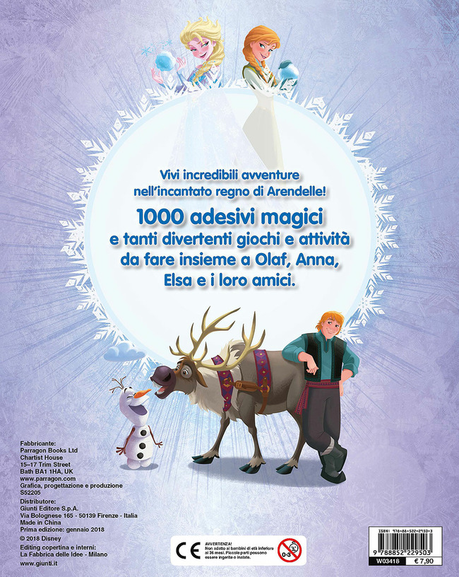 Olaf S Frozen Adventure 1000 Stickers Libro Libraccio It