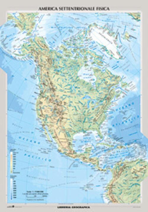 Cartina Geografica America Fisica.Nord America Fisica E Politica Carta Murale