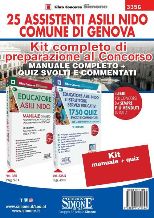 40e127eb6884f9 Kit completo di preparazione al concorso 25 Assistenti Asili nido Comune di  Genova: Manuale completo-Quiz ...