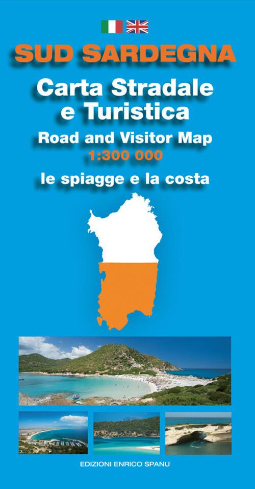 Cartina Geografica Sud Sardegna.Sud Sardegna Carta Stradale E Turistica Le Spiagge E La Costa 1 300 000 Enrico Spanu Libro